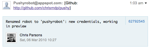 Github commit message view